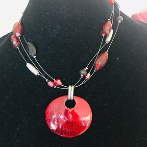 Chicos red enamel pendant 16 inch necklace